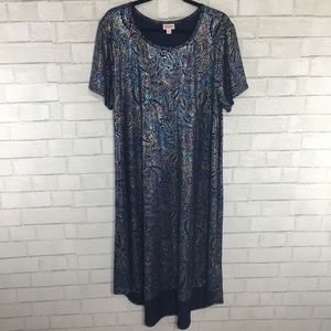 LuLaRoe Elegant Carly Dress, Rainbow Paisley Foil